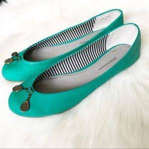 Pilcro Teal Flats with Tennis Racket